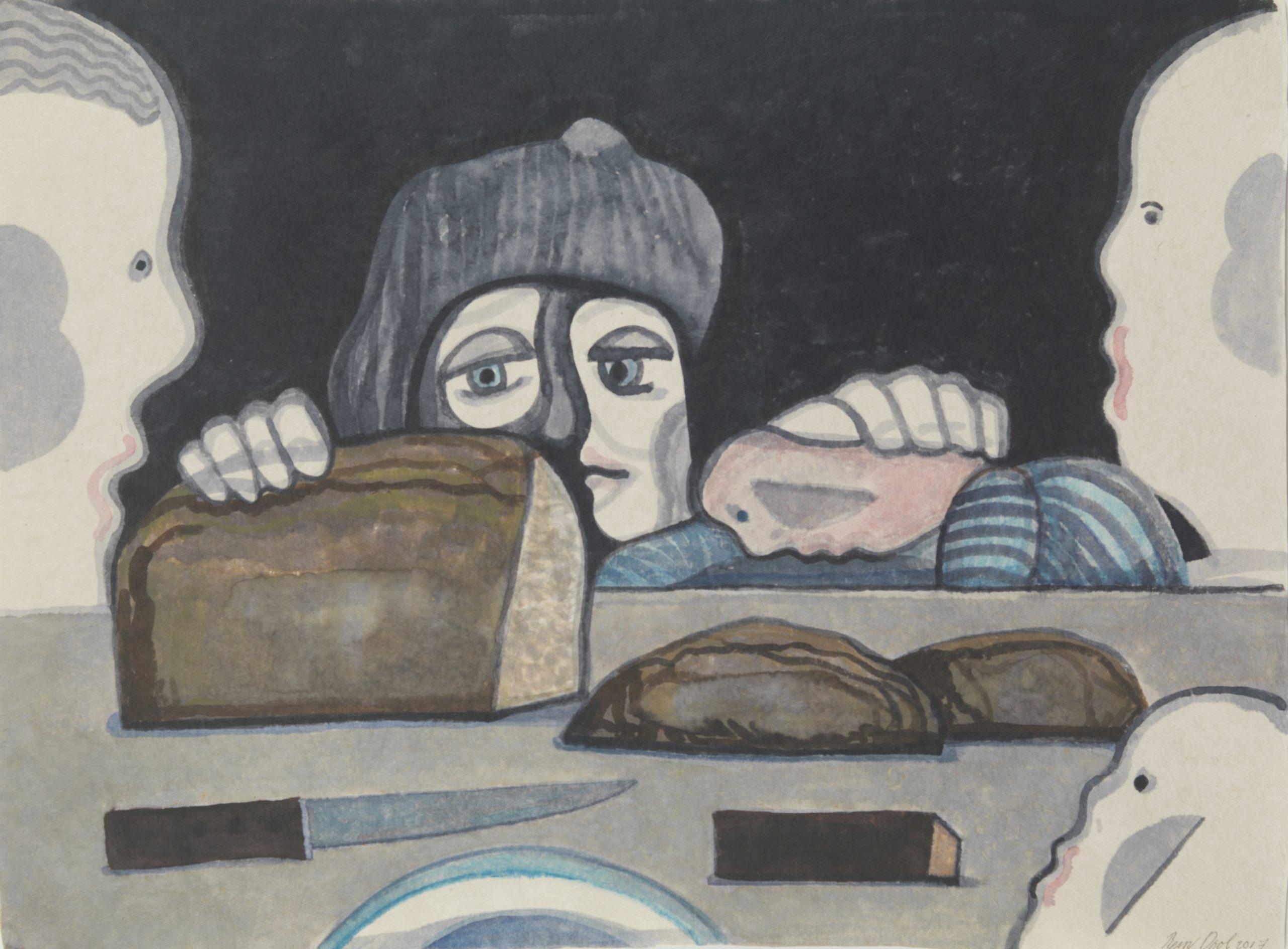 Aan tafel - Rein Dool, 100x70 cm. aquarel 2017