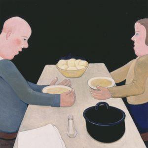 Aardappeleters - Rein Dool, 95x95 cm. olie tempera 2003