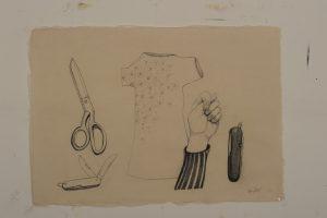 Als ik aan haar denk zie ik haar het liefst in bloemetjesjurken blz. 783 - Rein Dool, 70x100 cm. houtskool en potlood 2011