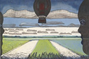 Ballonvaart - Rein Dool, 23x34cm, aquarel 2019