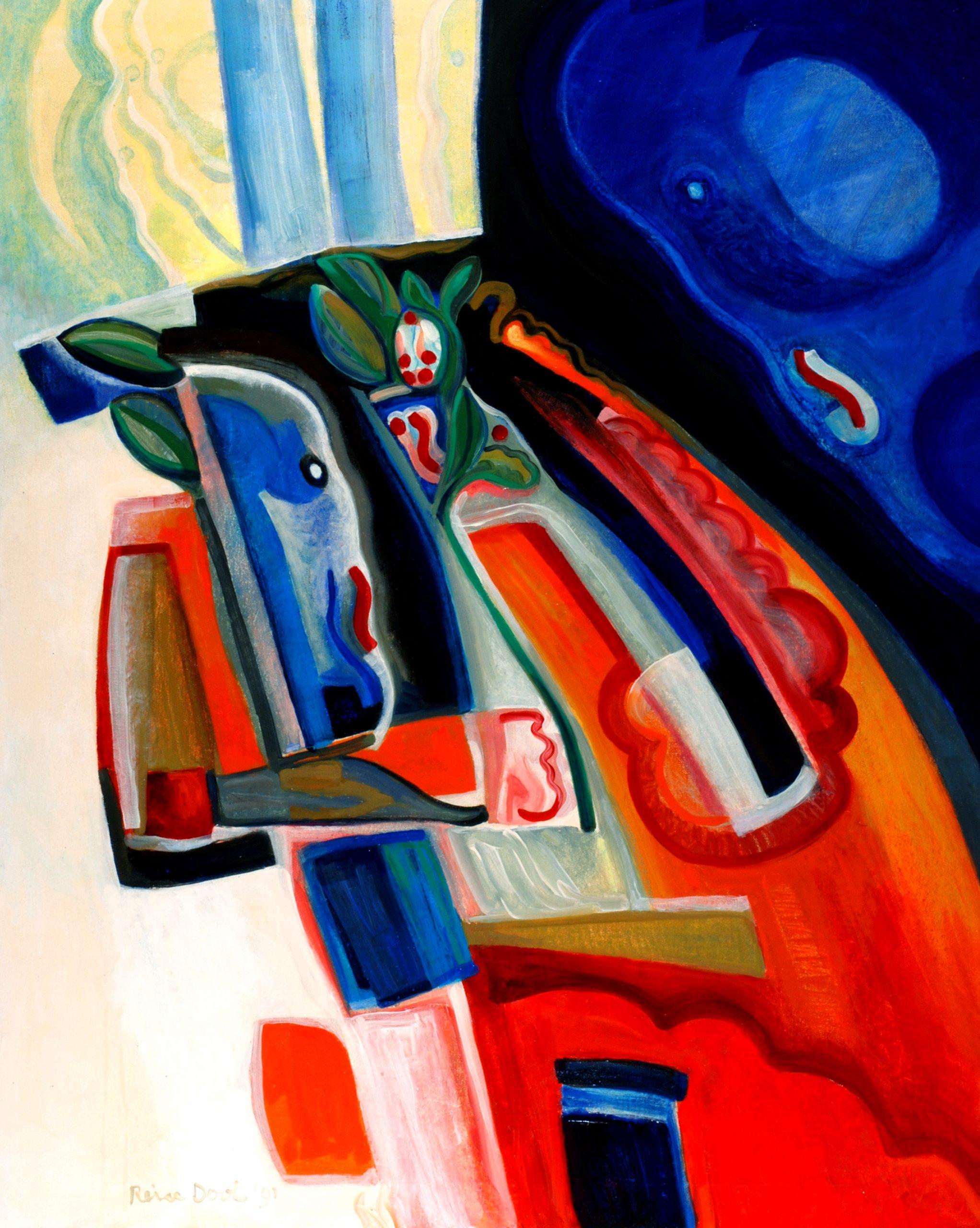 Bloemetje - Rein Dool, 150x100 cm. olie tempera 1991