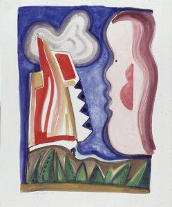 Buiten - Rein Dool, 160x122 cm. aquarel 2000