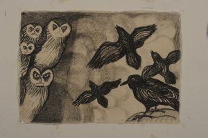 Dit keer slechts vier raven blz. 852 - Rein Dool, 70x100 cm. houtskool en potlood 2011