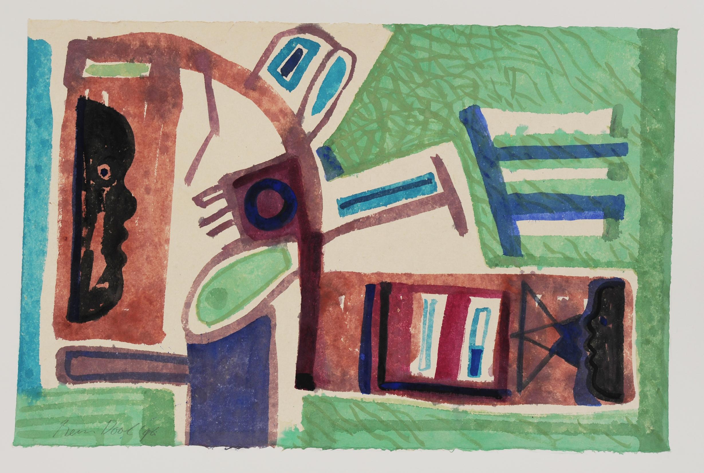 Gedekte tafel - Rein dool, 64x94 cm. aquarel 1996