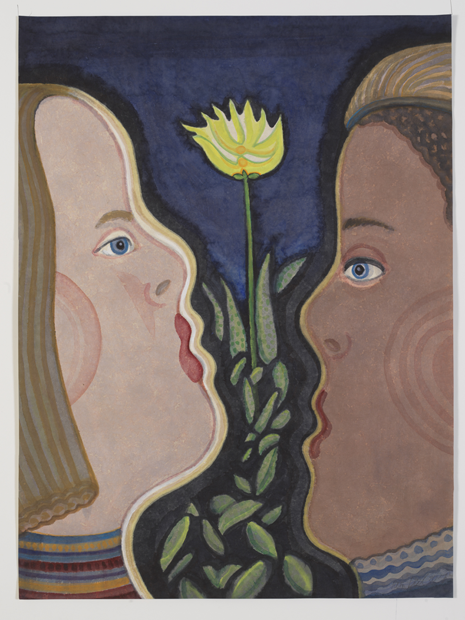 Gele bloem - Rein Dool, 80x60 cm. aquarel 2017