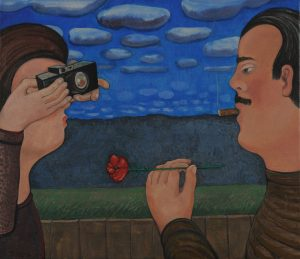 Georgische liefde 2 - Rein Dool, 70x80 cm. olie tempera 2012