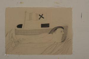 Hij lijkt al in zijn bootje te zijn opgegaan blz. 806 - Rein Dool, 70x100 cm. houtskool en potlood 2011