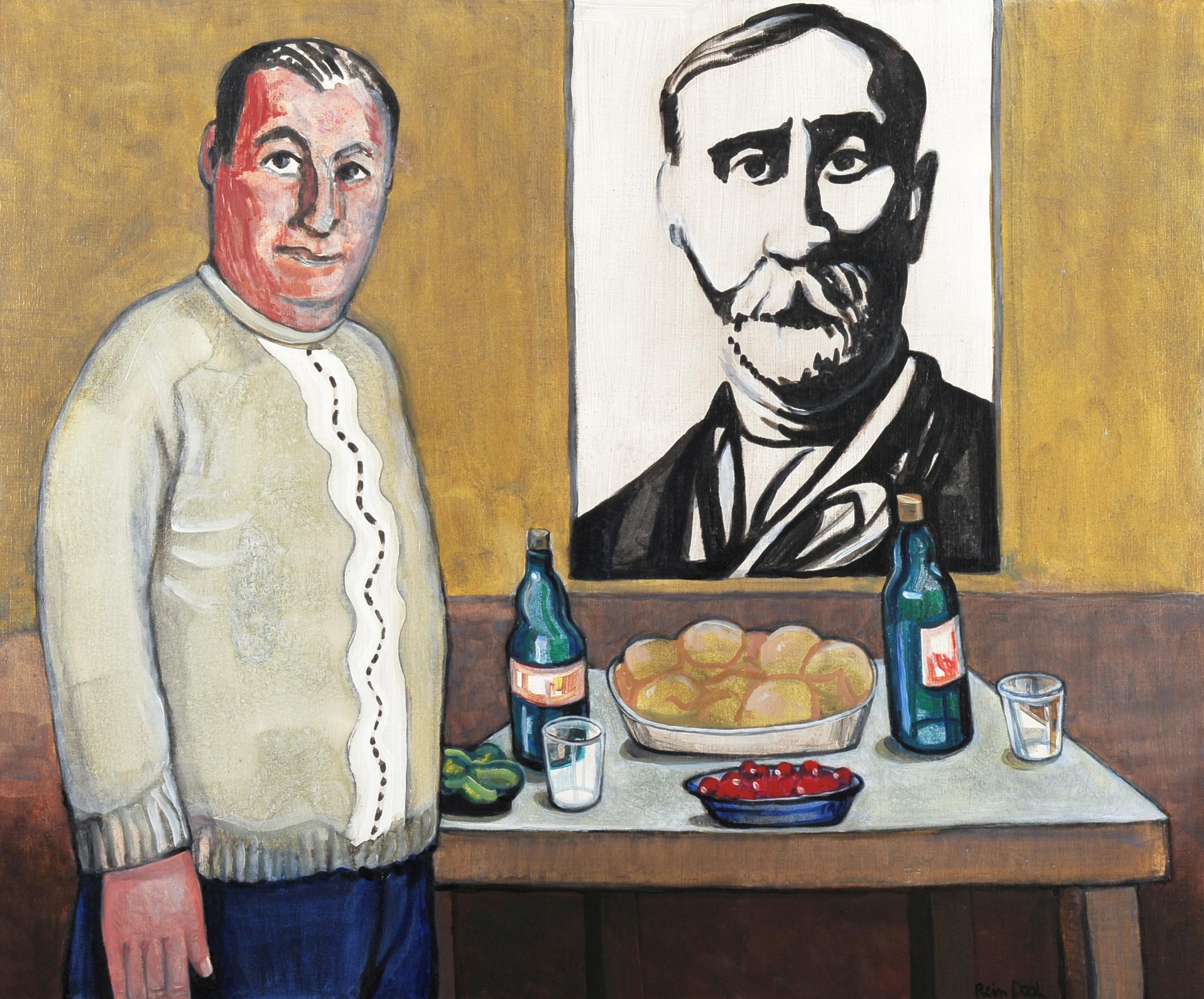 Huiskamer met portret van Pirosmani - Rein Dool, 100x120 cm. olie tempera 2011