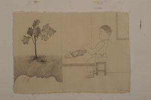 In het open veld staat een boom blz. 496 - Rein Dool, 70x100 cm. houtskool en potlood 2011
