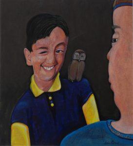 Jongen met uil - Rein Dool, 120x100 cm. olie tempera 2009