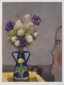 Kat aan tafel - Rein Dool, 80x60 cm. aquarel 2017
