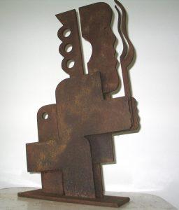Kind met speelgoed - Rein Dool, 70 cm hoog. cortenstaal 2004