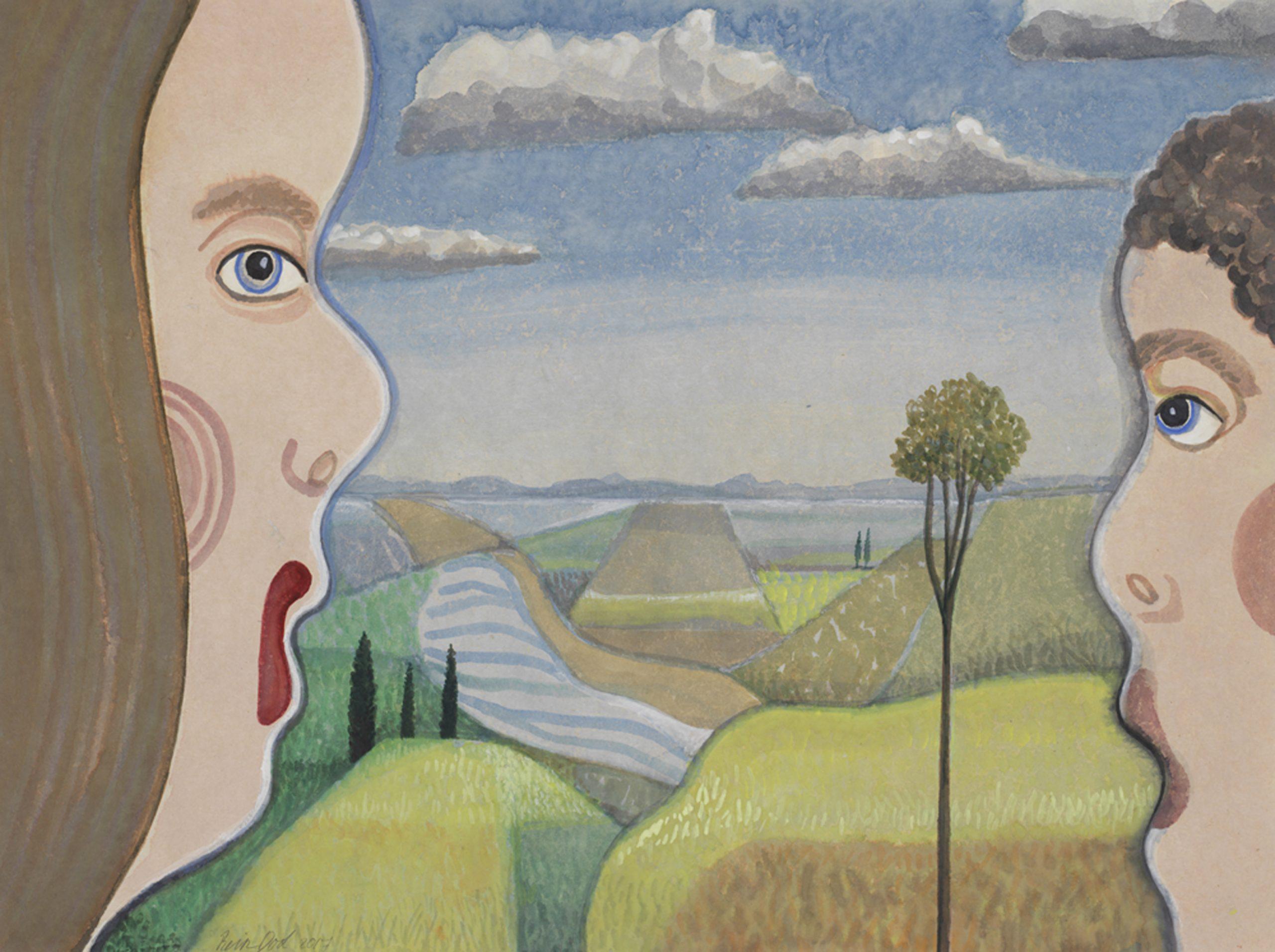 Landschap - Rein Dool, 60x80 cm. aquarel 2017