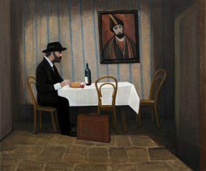 Pirosmani in het restaurant - Rein Dool, 100x120 cm. olie tempera 2011