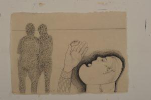 Soms bezit ik ook zo'n kiezel blz. 855 - Rein Dool, 70x100 cm. houtskool en potlood 2011