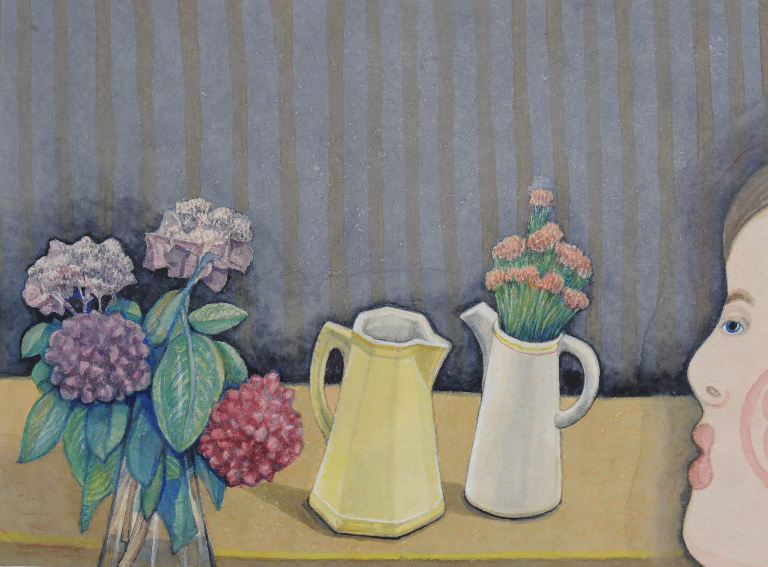 Stilleven met kannen - Rein Dool, 70x80 cm. aquarel 2017