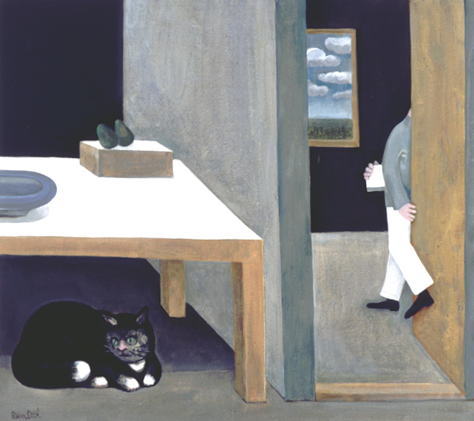 Stilleven met kat - Rein Dool, 80x90 cm. olie tempera 2003