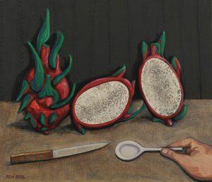 Stilleven met vruchten - Rein Dool, 60x70 cm. olie tempera 2012