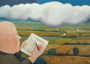 Tekenaar - Rein Dool, 60x80 cm. olie tempera 2003