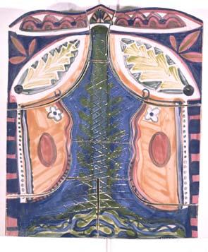 Twee vrouwen - Rein Dool, 55x45 cm. keramiek 1996