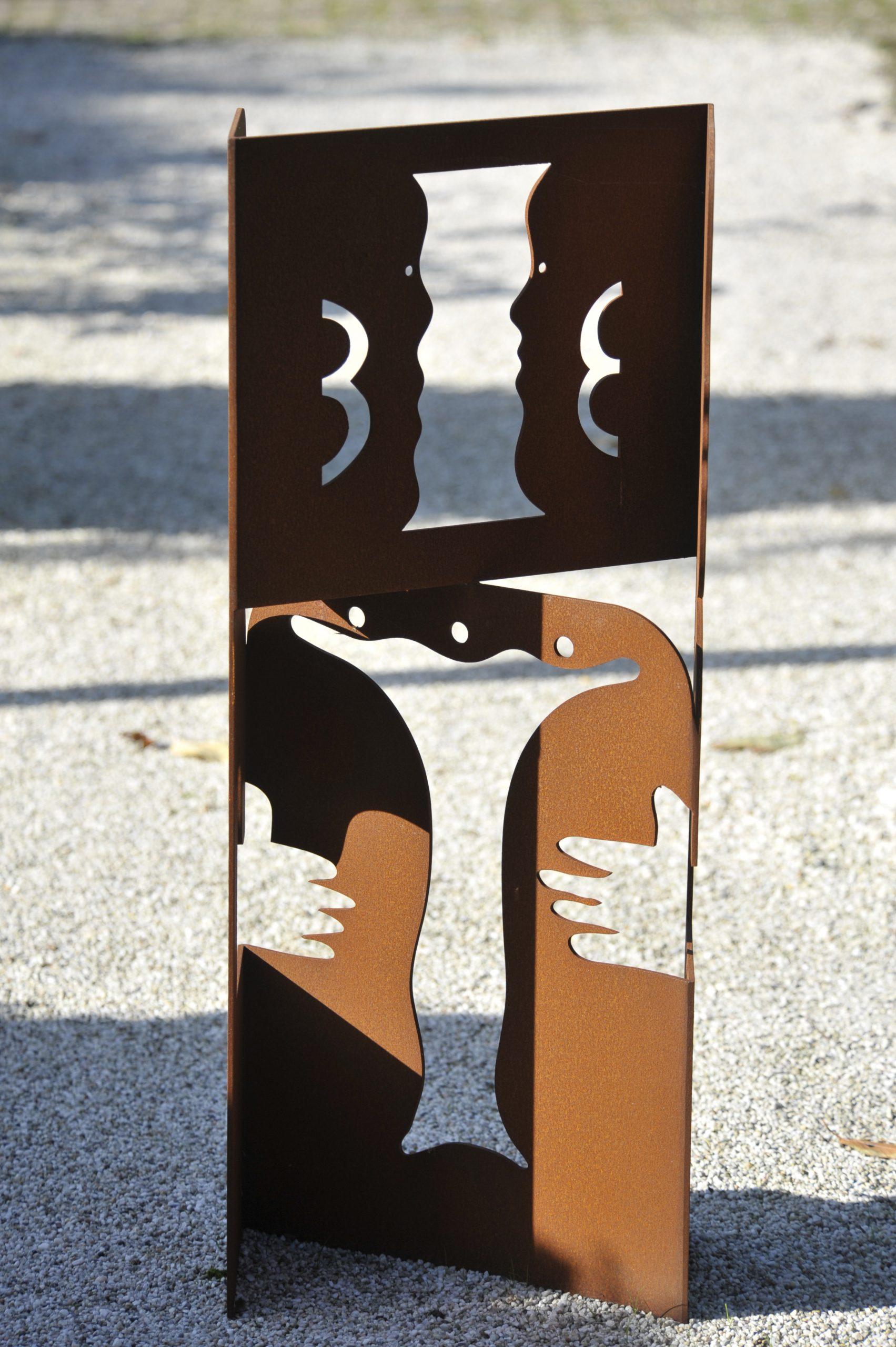 Tweeling andere zijde - Rein Dool, 100 en 300 cm hoog. cortenstaal 2000