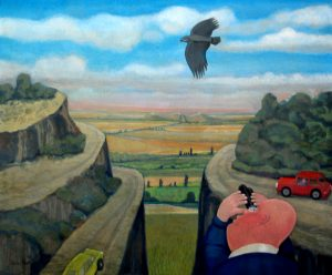 Vogelkijker - Rein Dool, 110x120 cm. olie tempera 2005