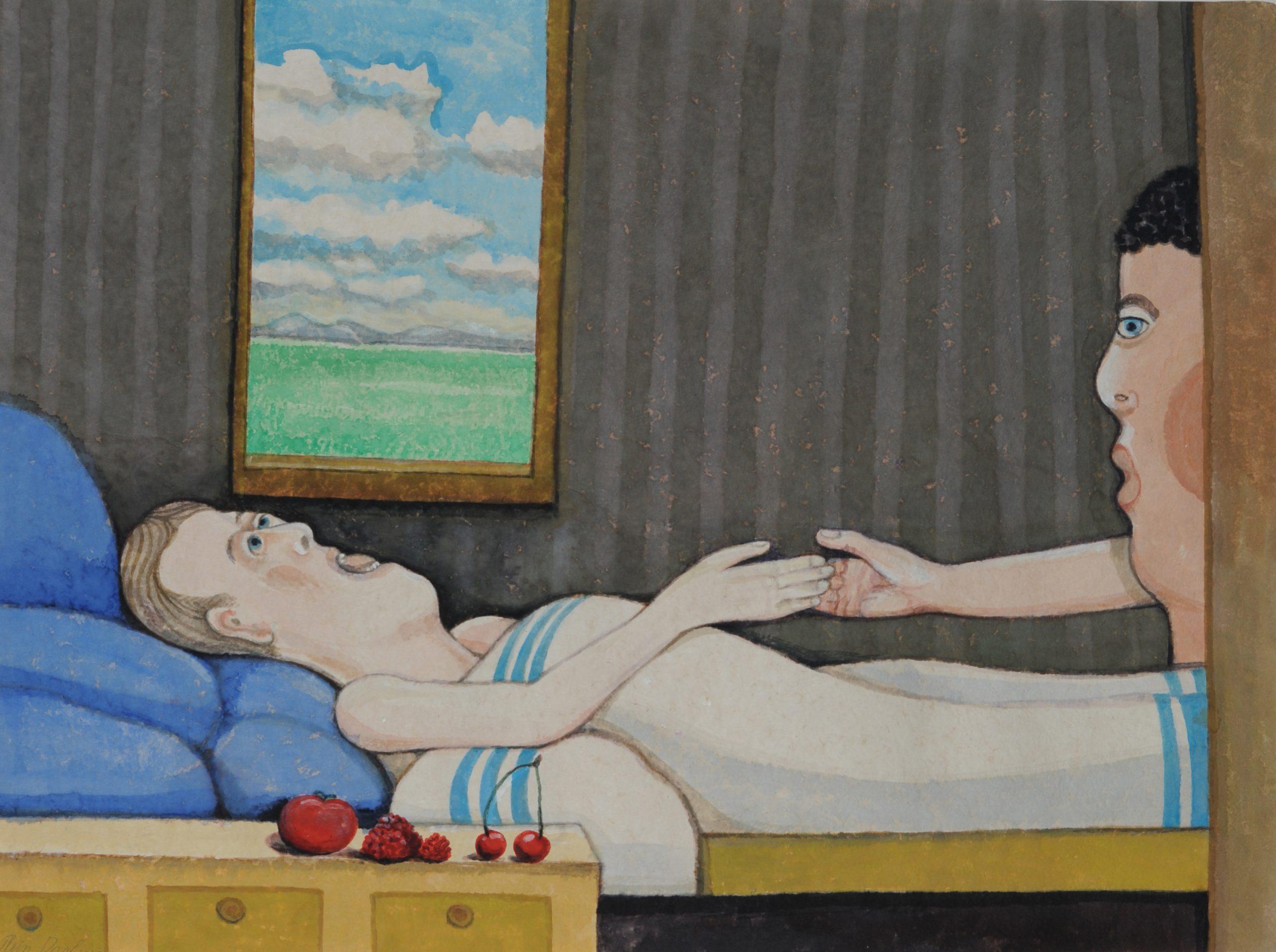 Ziekenbezoek - Rein Dool, 60x80 cm. aquarel 2017