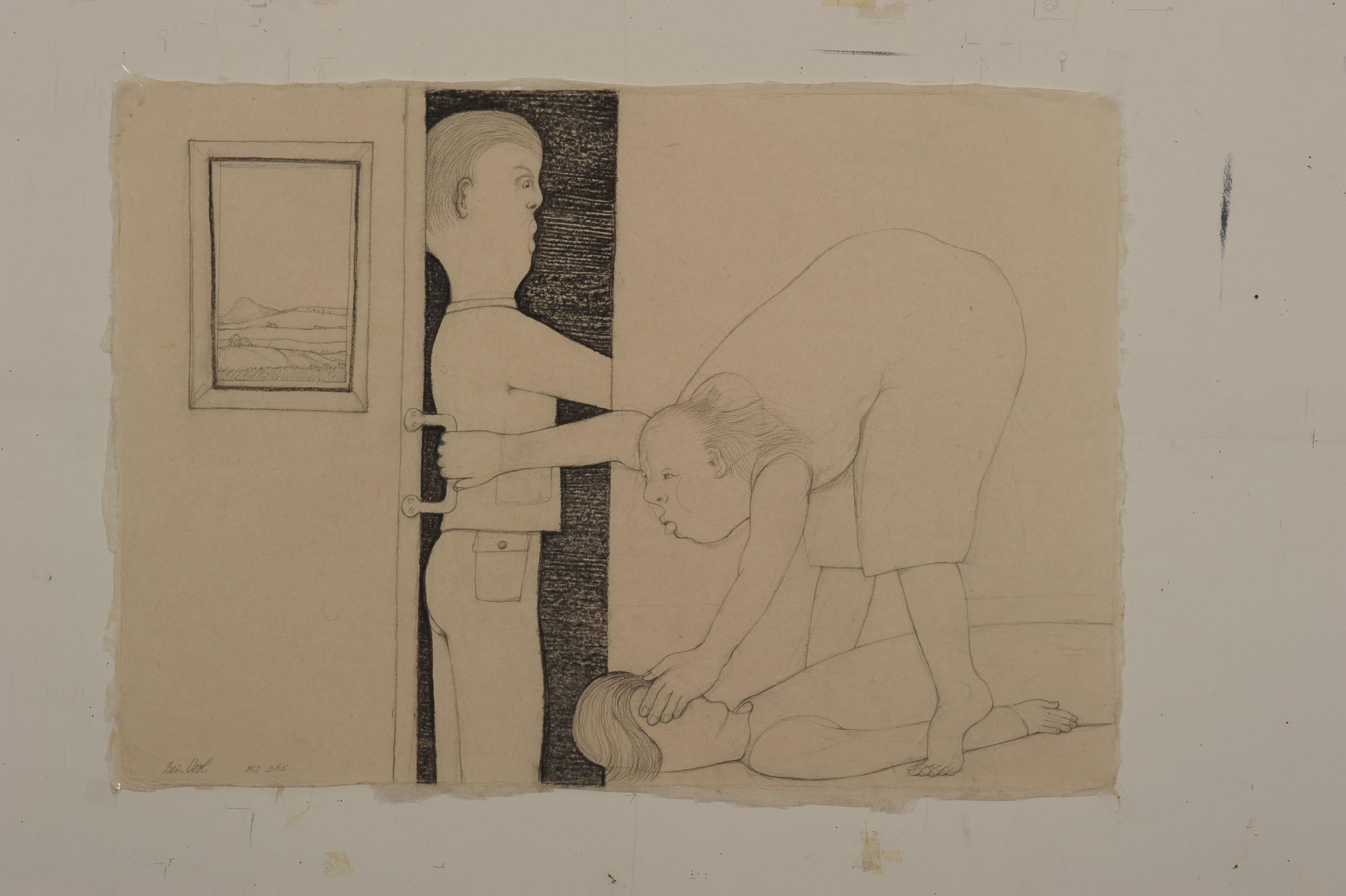 Zij bukt zich om iets op te rapen blz. 365 - Rein Dool, 70 x 110 cm. houtskool en potlood 2011