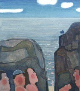 Zwemplek - Rein Dool, 90x80 cm. olie tempera 2002